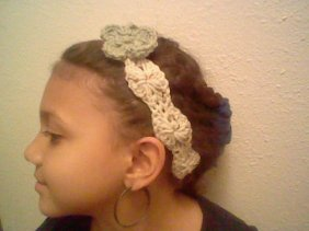 Crochet Headband with Floral Accent