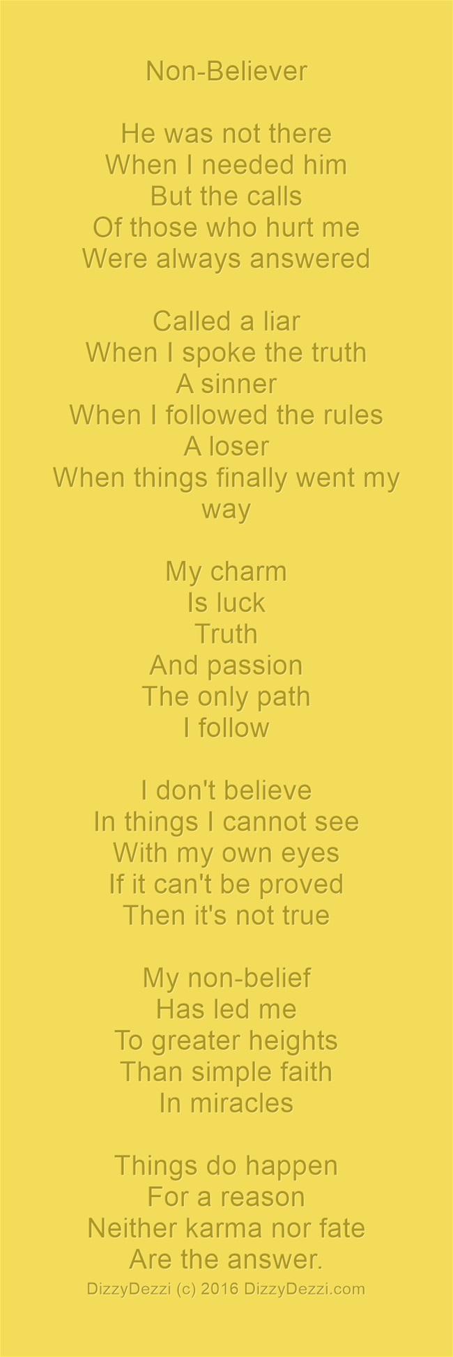 Non-Believer: A poem