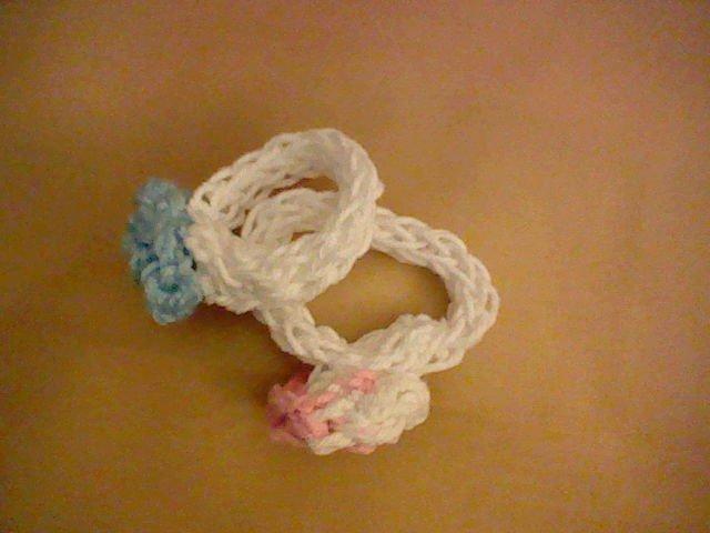 Finger-Knitted Flower Bracelets