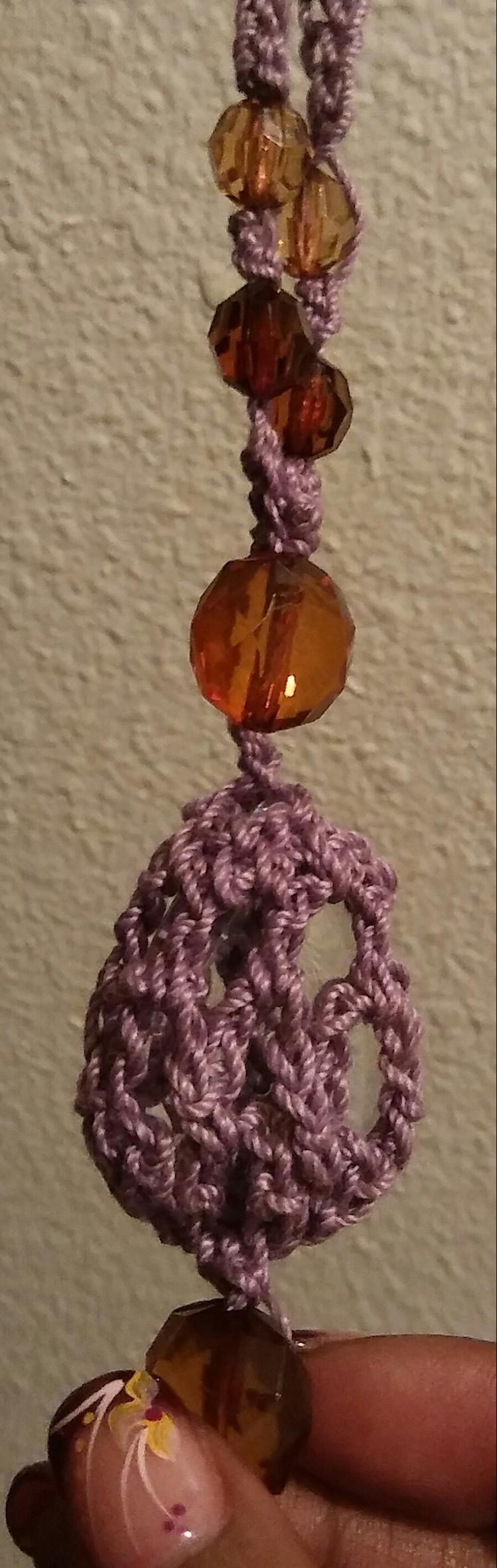 Crocheted Gem-Facet Beaded Necklace