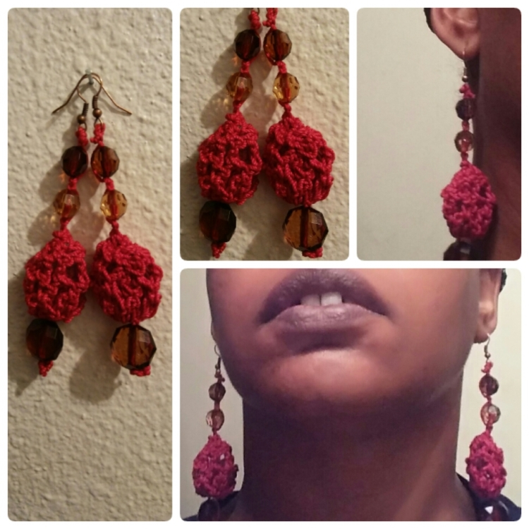 Crocheted Gem-Facet Beaded Earrings