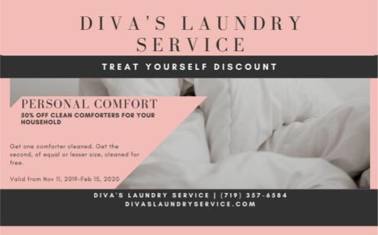 GOCO! Get one comforter cleaned, get the second of equal or lesser size cleaned for free!